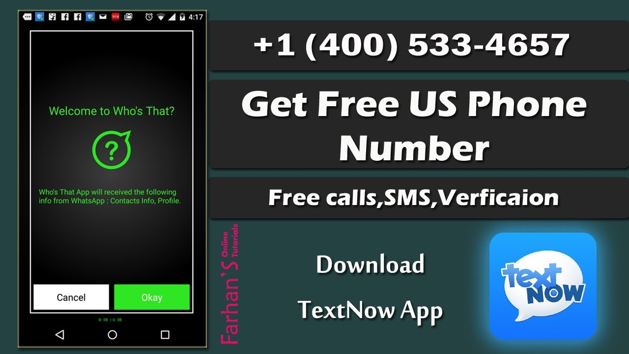 Textnow How To Get Free Us Phone Number For Whatsapp Verification 2018 Youtube