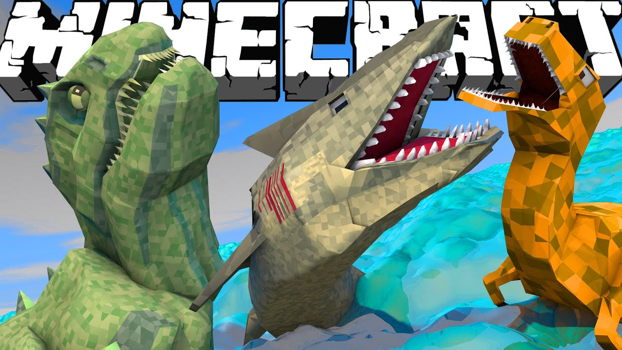 Minecraft Dinosaur Fishing Challenge Jaws T Rex