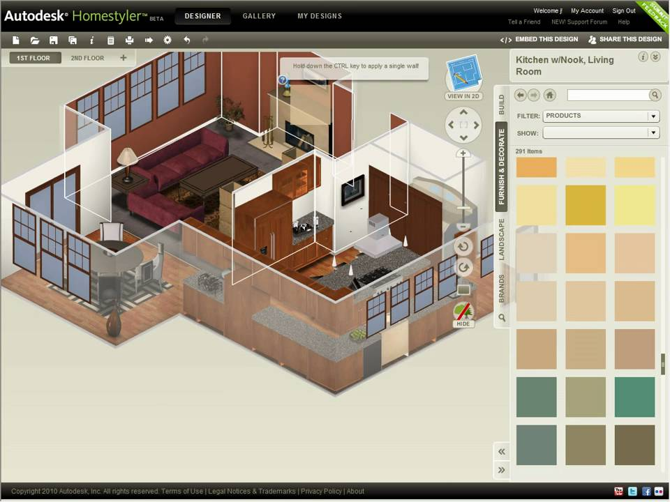 Autodesk homestyler refine your design youtube for Free online 3d home design software