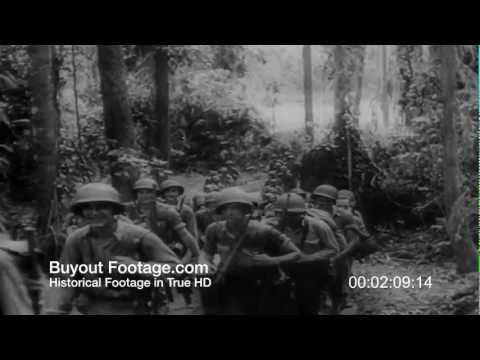 HD Stock Footage WWII Marines on Guadalcanal Push Back Japanese Troops