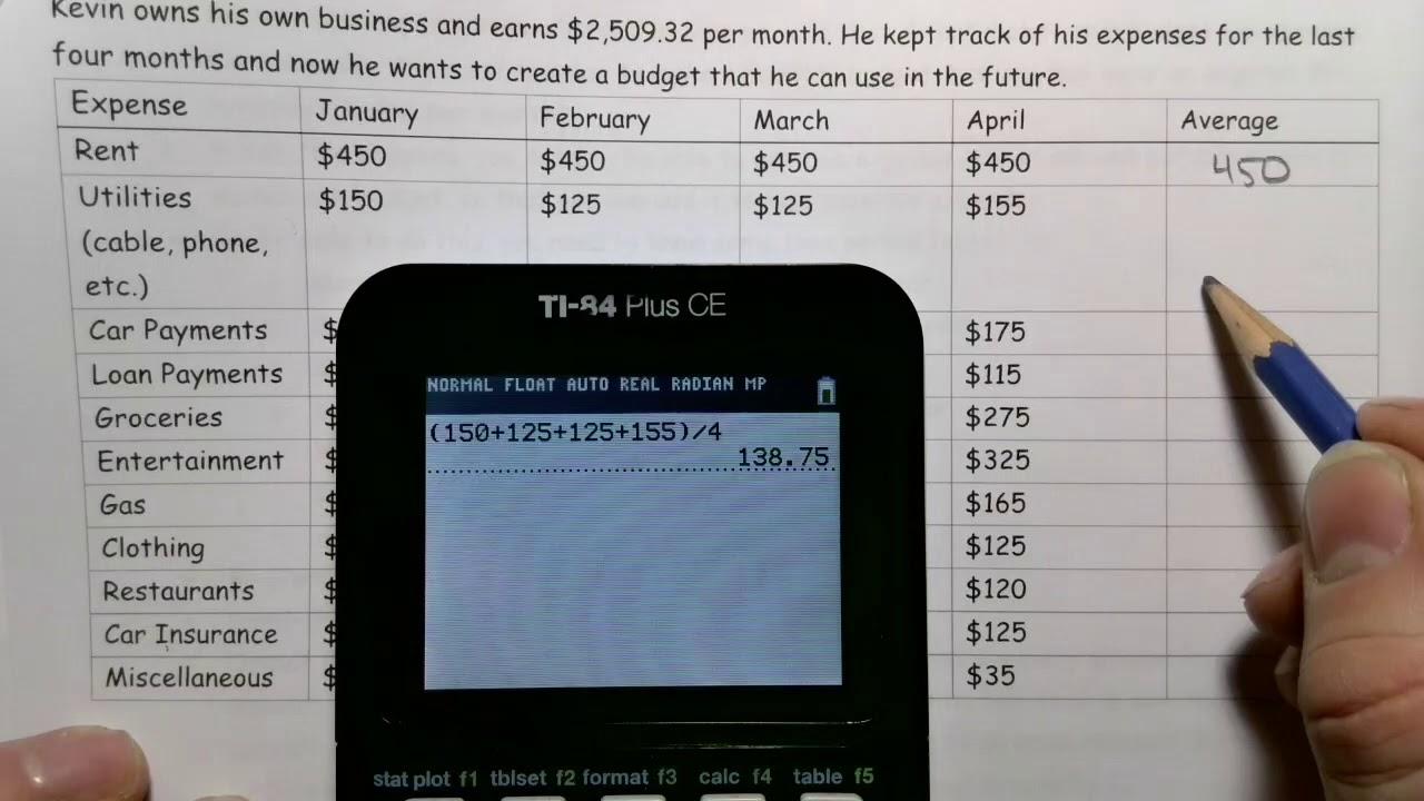 Math 20 3 Creating a Budget   Lesson