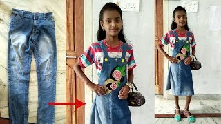 DIY: Convert/Reuse old Men's Jeans into girls DUNGAREE DRESS/ DUNGAREE SKIRT By Sri Tv