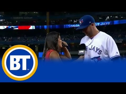 Sportsnet's Hazel Mae Gets Soaked At Jays Game
