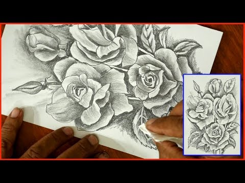 Easy to Draw Roses- step by step-DIY Art-Pencil sketch/Tutorials for beginners-S.Nagender thumbnail