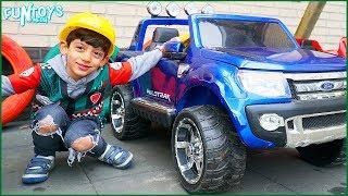 Jason Pretend Play Repairs his Toy Car Wheel Skit