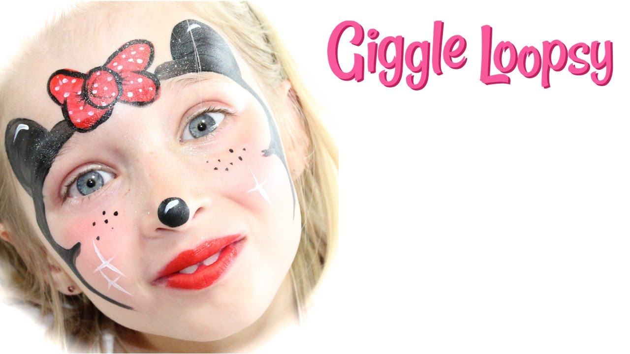 Minnie Mouse Face Paint Tutorial by Giggle Loopsy - YouTube