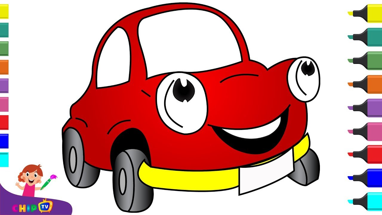 How to draw a car EASY and SIMPLE for kids. Paint ...