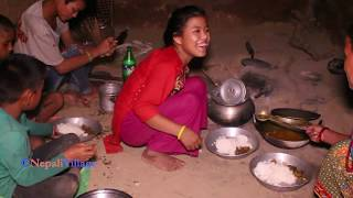 Cooking beans and meat in traditional way ll enjoying food together by village family