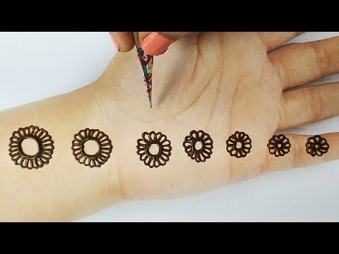 आसान मेहँदी लगाना सीखे -करवाचौथ स्पेशल मेहँदी-गोल टिक्की शेडेड दिवाली मेहँदी-Easy karwachauth Mehndi