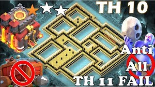 TH 10 ANTI 3 STARS WAR BASE(TOWN HALL 10 WITHOUT INFERNOS) || REPLAY PROOF || CLASH OF CLANS