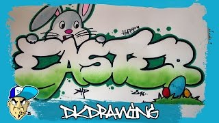 How to draw graffiti bubble letters happy easter