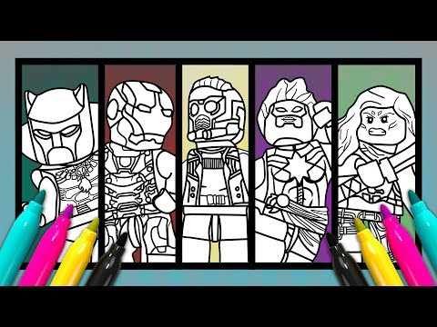 Marvel 5 Superheroes Coloring Page Lego Avengers Color