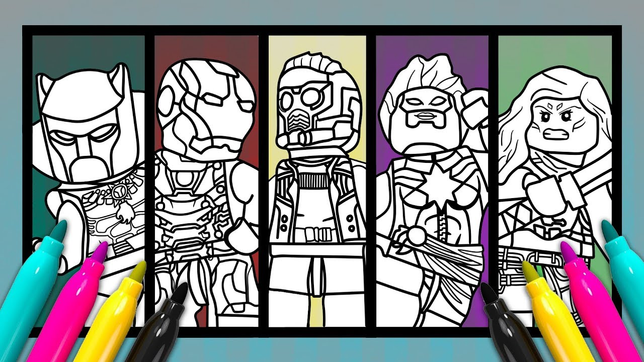 MARVEL 5 Superheroes Coloring Page | LEGO Avengers Color ...