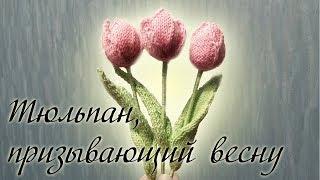 """МК """"Тюльпан, призывающий весну"""" вязание цветка спицами"""
