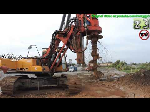 Drilling Rig Making Deep Foundation At Construction Site