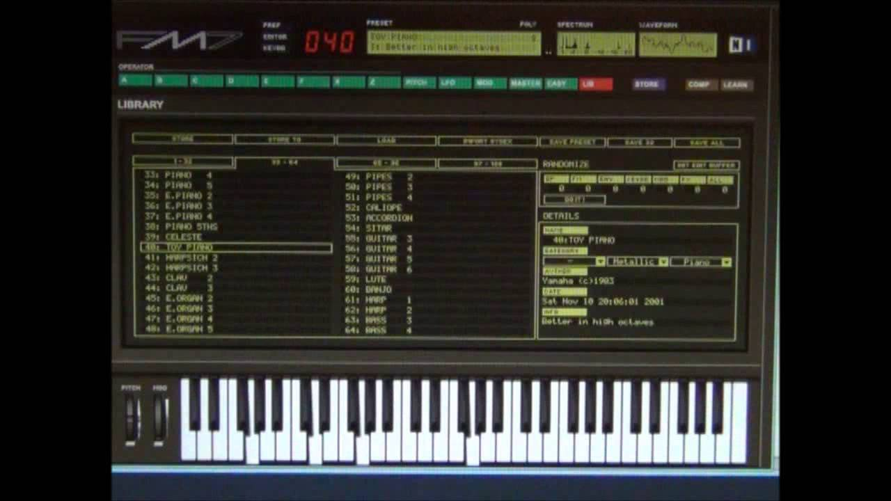 yamaha dx7 emulator software fm7 patch 040 toy piano youtube. Black Bedroom Furniture Sets. Home Design Ideas