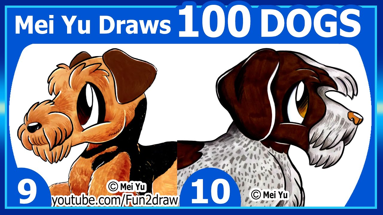 Drawing challenge mei yu draws 100 dogs 9 10 youtube ccuart Images
