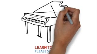 How to draw a piano for kids step by step