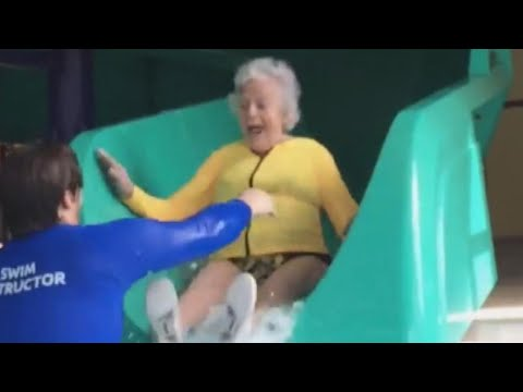 93-Year-Old Woman Goes Down Water Slide to Face Her Fears at Michigan YMCA