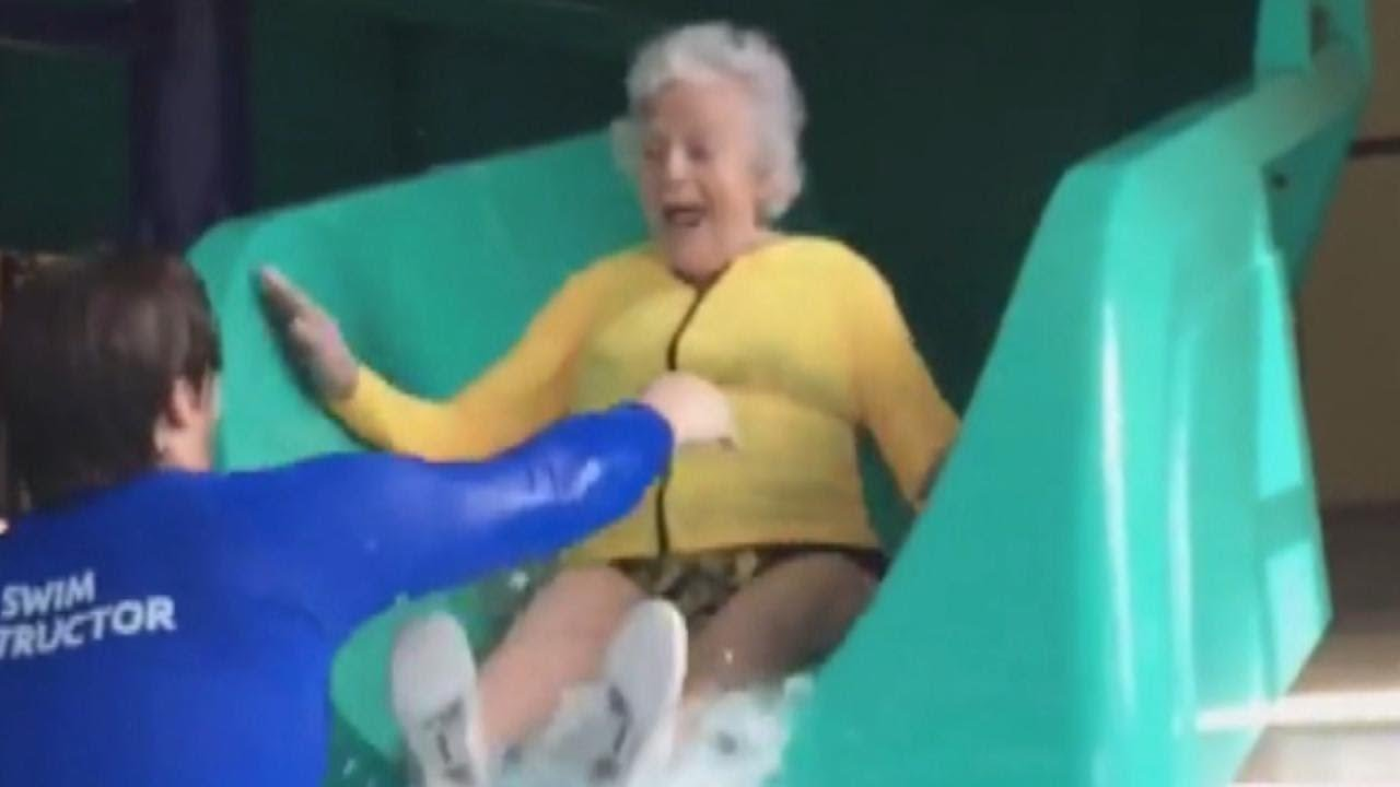 2af6c329c63ee 93-Year-Old Woman Goes Down Water Slide to Face Her Fears at Michigan YMCA