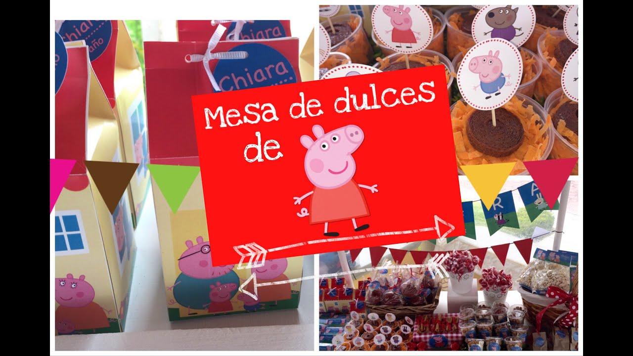 Mesa de dulces de peppa pig