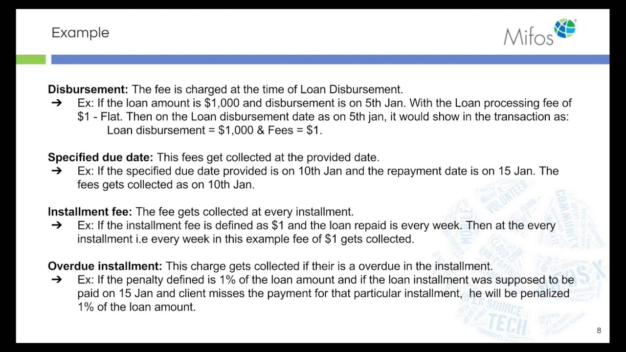 Mifos X Training Loan Fees & Charges v15 03