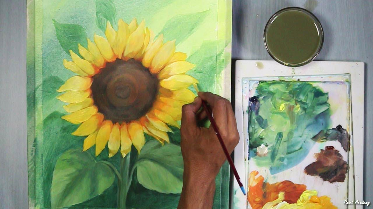 How To Paint Sunflower In Acrylic Step By Step Youtube
