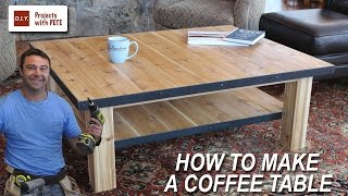 Learn how to make a coffee table with DIY Pete. This simple DIY woodworking project is made out of cedar pickets, 2x4 boards, a