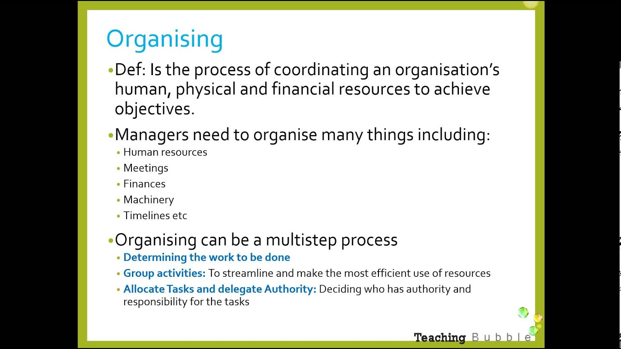 organizing role in management Managers' role in organizational design is central but must be understood in the context of their overall responsibilities within the organization management operates through functions such as planning, organizing, staffing, leading/directing, controlling/monitoring, and motivation.