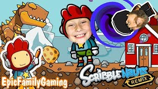 T-Rex Chases Farmer in SCRIBBLENAUTS Game and a Crazy Scribblenauts Classroom by Epic Family Gaming