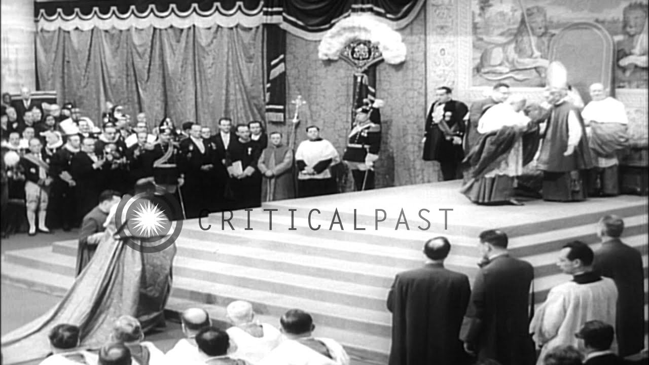 Pope John XXIII is carried on the sedia gestatoria and he elevates new cardinals HD Stock Footage