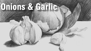 how to draw a still life with onions & garlic in pencil 1