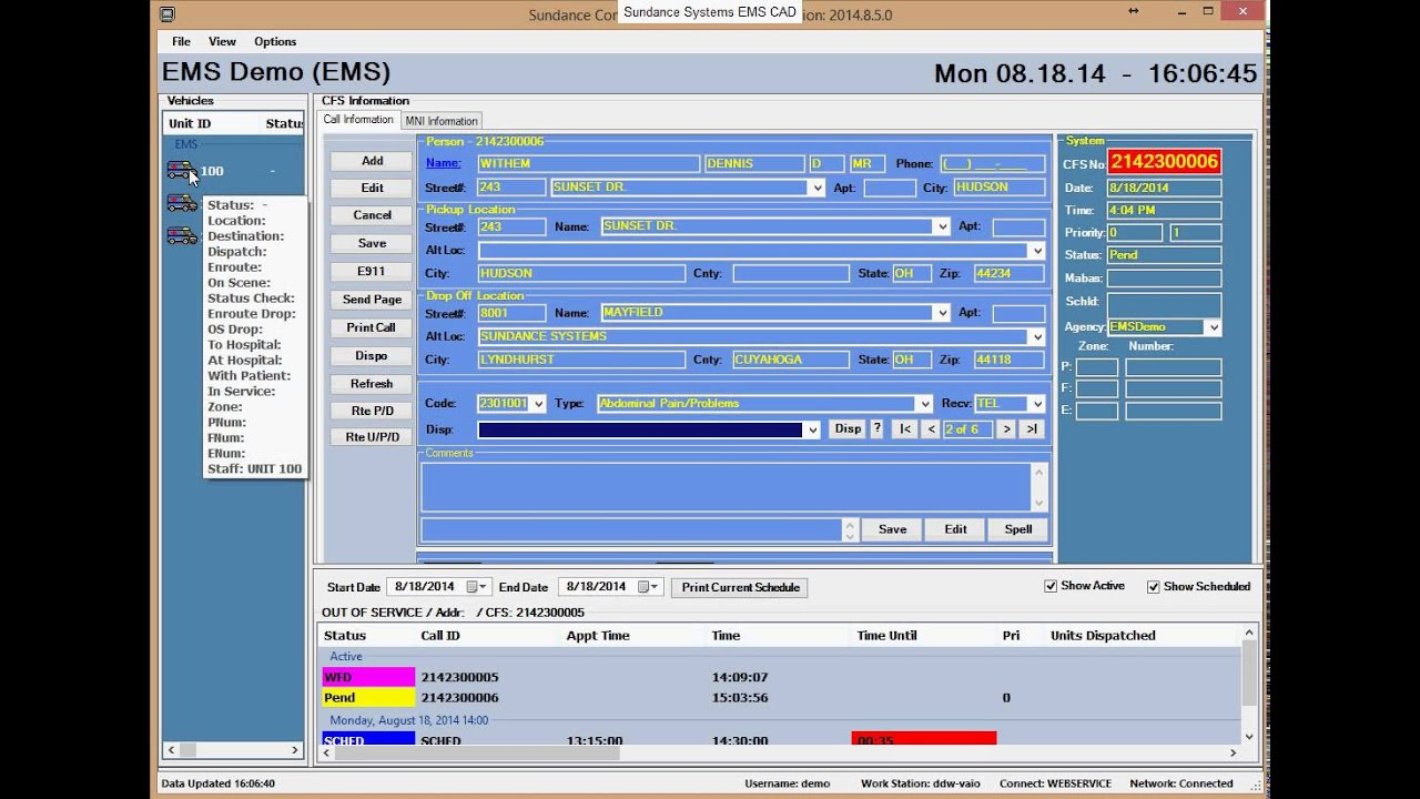 EMS CAD Single Transport Or Emergency Dispatch - YouTube