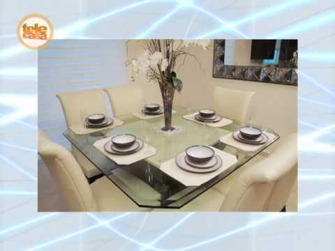 Comedor con base de madera cubierta de cristal youtube for Comedores en madera y vidrio