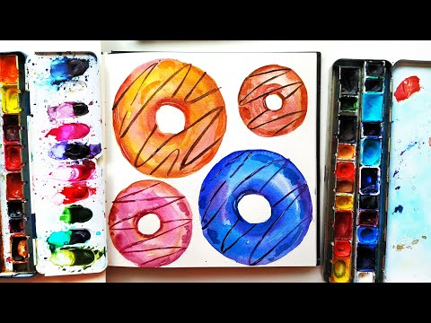 Watercolor Donuts Painting Tutorial – DIY Food Illustration \ Easy Art Ideas