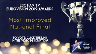 ESC Fan TV Eurovision 2019 Awards | Most Improved National Final - WHO WINS, YOU DECIDE! VOTE NOW...