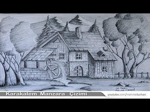 Karakalem Dağ Evi Manzara Peyzaj Çizimi - Gölgelendirme ve Tonlama - Landscape and Scenery Drawing