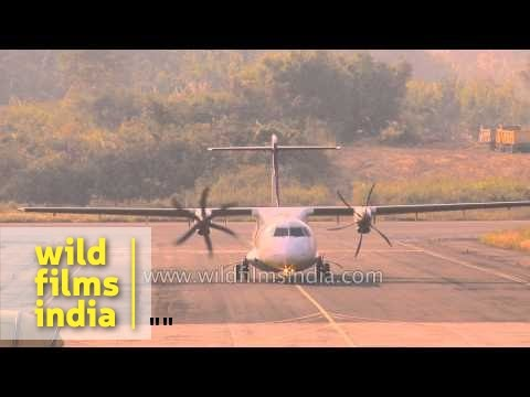 Turbo-prop ATR Jet Airways plane lands at Lengpui airport, Aizawl