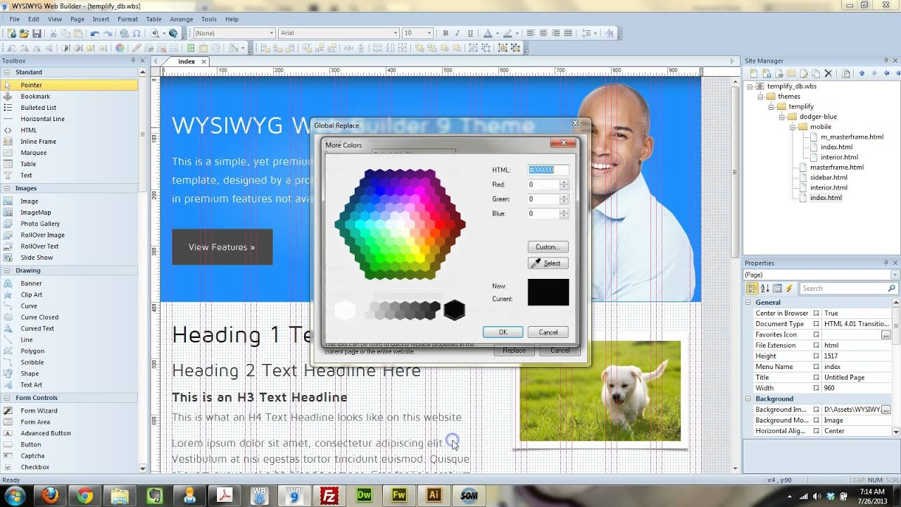 Free WYSIWYG Web Builder 9 Template - How to update the color! - YouTube