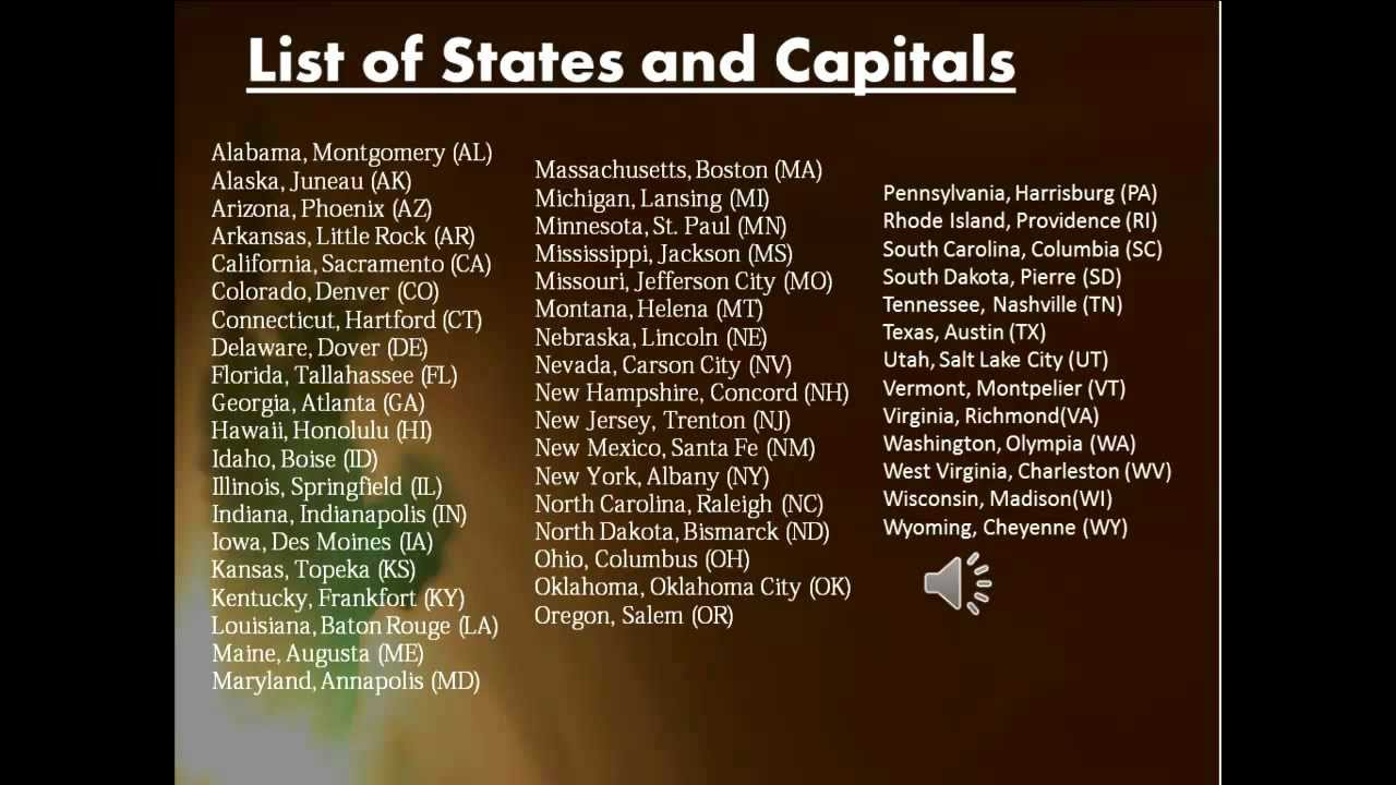 List of States and Capitals | List of 50 States - YouTube