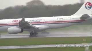 China Eastern Airlines A330-200 bad weather landing!