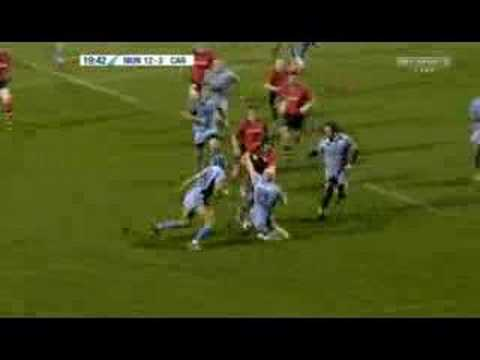 Denis Leamy's second try against Cardiff