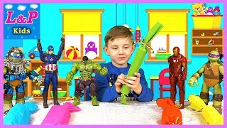 Learn colors and animals names with my toy friends opening big  colorful candy surprises  Кids video