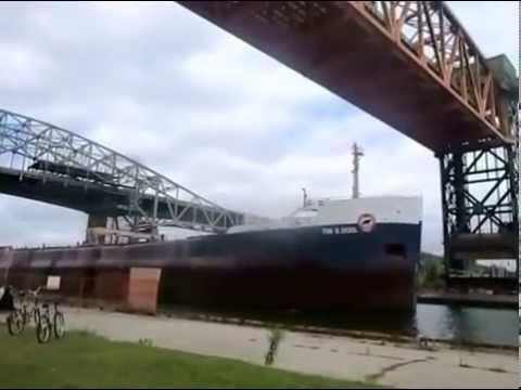 Ship Travels Through Burlington Bay Canal