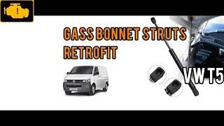 VW T5 Gass Bonnet Struts Retrofit , Fitting a gas bonnet strut , How To fit Gas Bonnet Struts