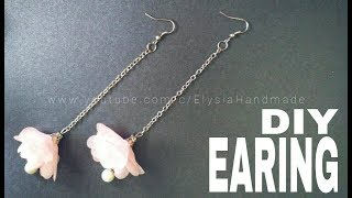 How To Make : Flower Earring With Chiffon Frill | DIY by Elysia Handmade