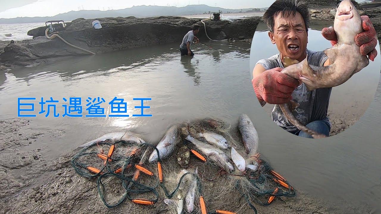 700平水坑抽一半机器坏掉,下去碰运气竟遇鲨鱼王,满满海货挂满网