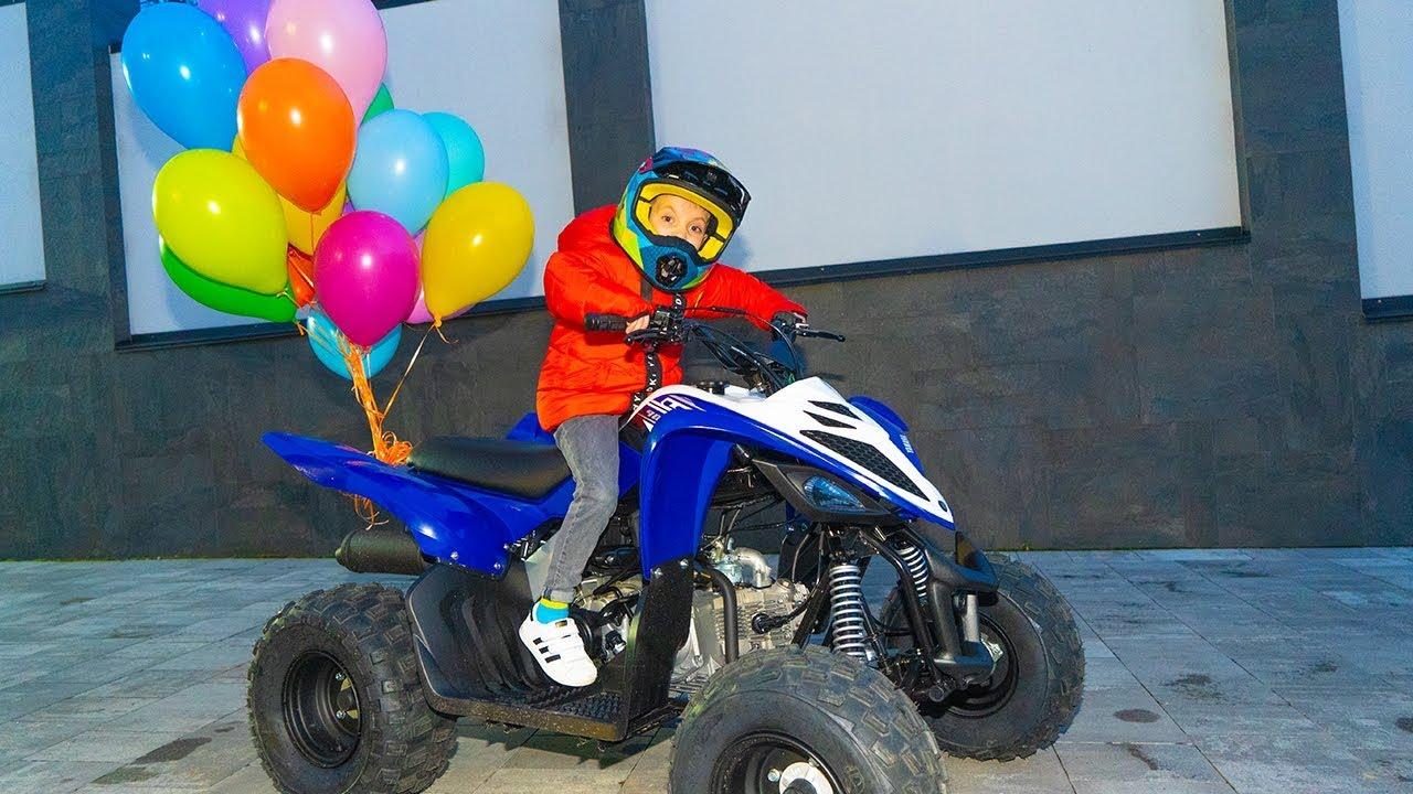 Тиша НЕ ожидал...Tisha ride on a NEW  big ATV and stuck in the ground.