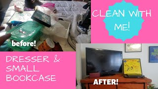 Declutter with me! Dresser and small bookcase