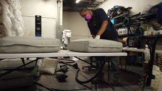 How we clean Mold/Mildew stained sunbrella fabric cushions